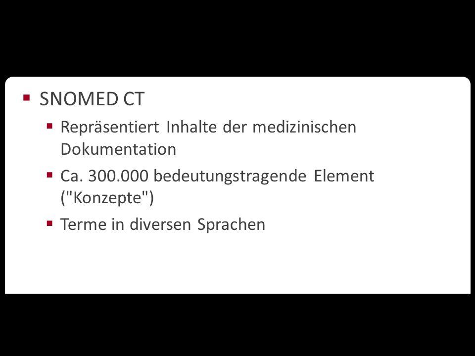 Ontologien in der Wissenschaft  SNOMED CT  Repräsentiert Inhalte der medizinischen Dokumentation  Ca. 300.000 bedeutungstragende Element (