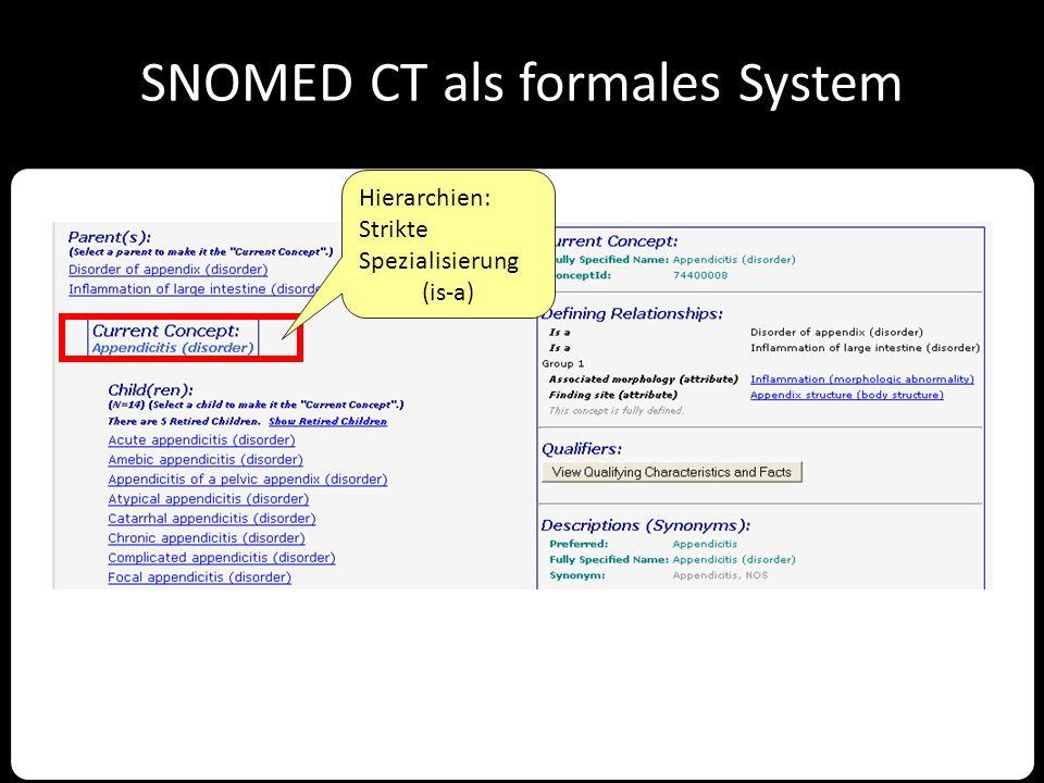 SNOMED CT als formales System Hierarchien: Strikte Spezialisierung (is-a)