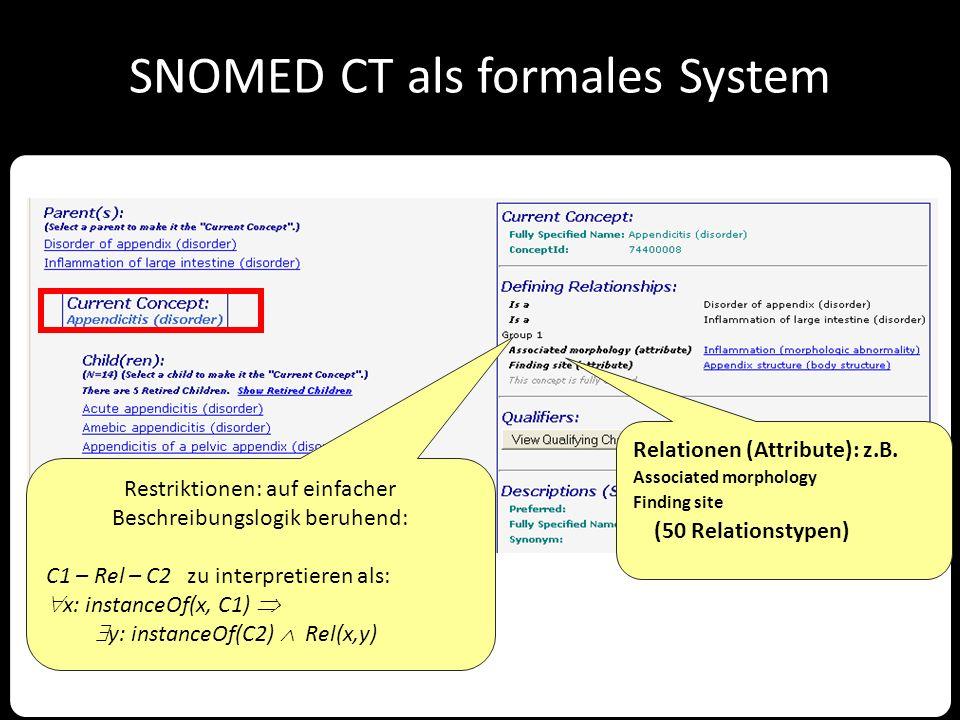 SNOMED CT als formales System Restriktionen: auf einfacher Beschreibungslogik beruhend: C1 – Rel – C2 zu interpretieren als:  x: instanceOf(x, C1) 