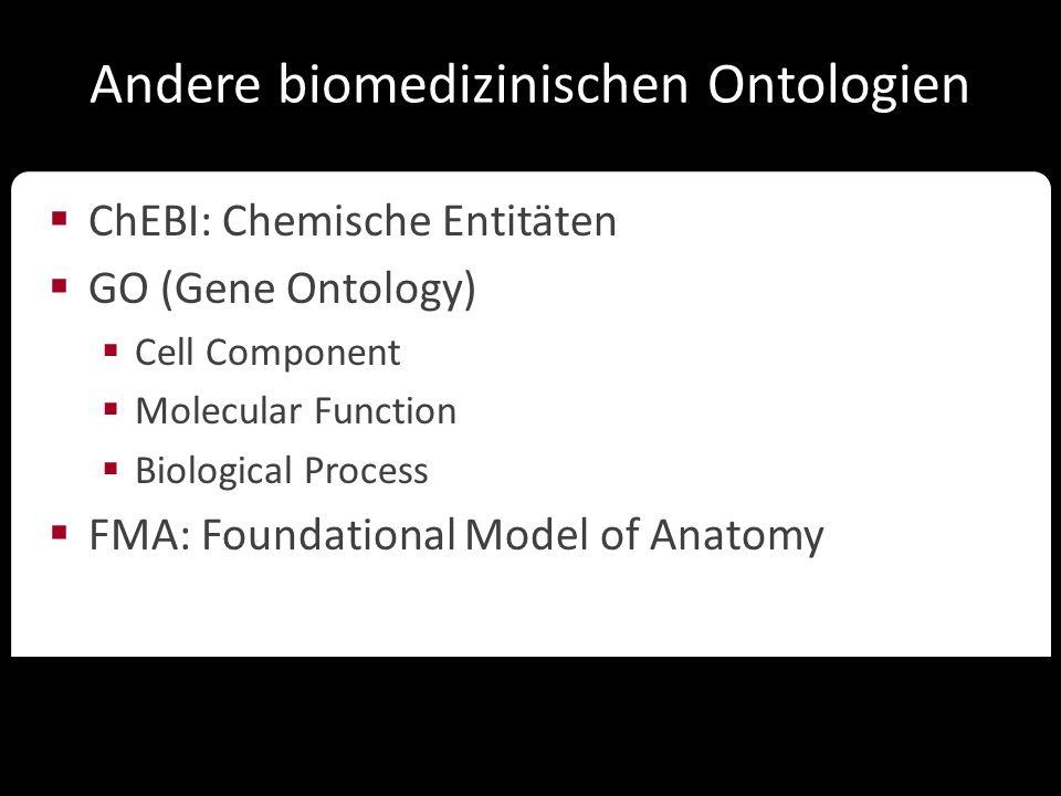 Ontologien in der Wissenschaft Andere biomedizinischen Ontologien  ChEBI: Chemische Entitäten  GO (Gene Ontology)  Cell Component  Molecular Funct