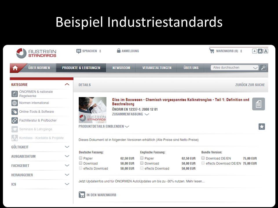 Beispiel Industriestandards