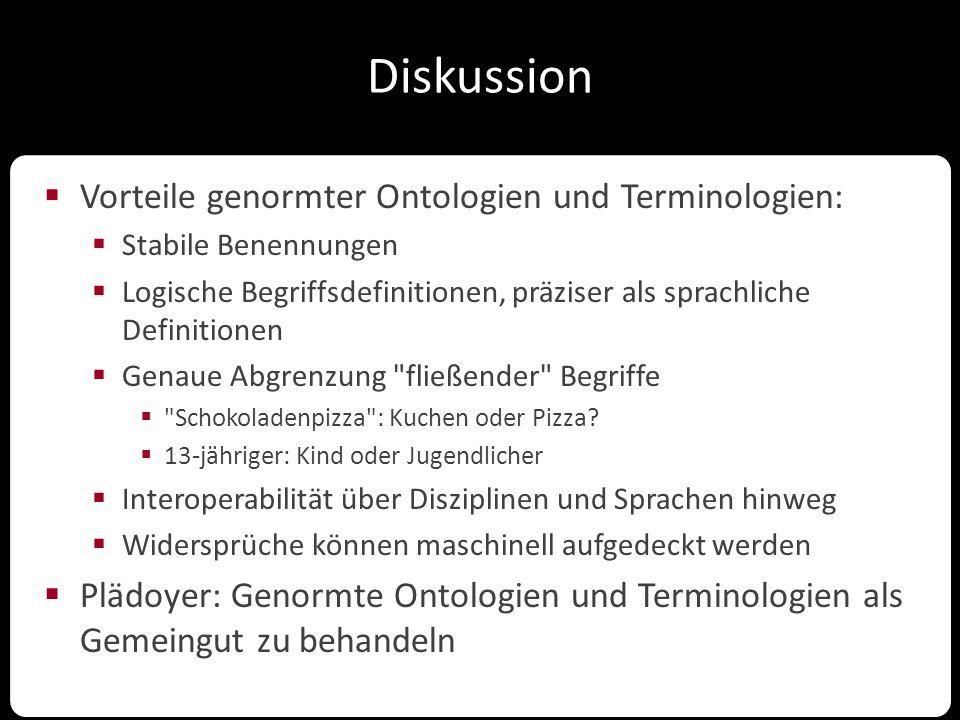 Diskussion  Vorteile genormter Ontologien und Terminologien:  Stabile Benennungen  Logische Begriffsdefinitionen, präziser als sprachliche Definiti