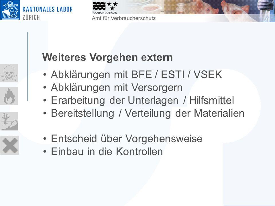 Weiteres Vorgehen extern Abklärungen mit BFE / ESTI / VSEK Abklärungen mit Versorgern Erarbeitung der Unterlagen / Hilfsmittel Bereitstellung / Verteilung der Materialien Entscheid über Vorgehensweise Einbau in die Kontrollen