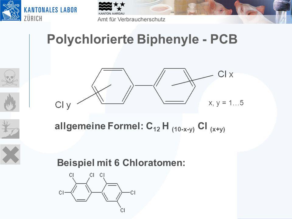Polychlorierte Biphenyle - PCB x, y = 1…5 allgemeine Formel: C 12 H (10-x-y) Cl (x+y) Beispiel mit 6 Chloratomen: