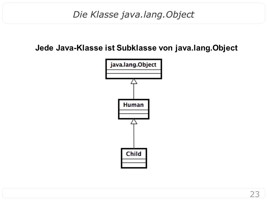 23 Die Klasse java.lang.Object Jede Java-Klasse ist Subklasse von java.lang.Object