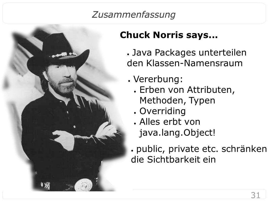 31 Zusammenfassung ● Java Packages unterteilen den Klassen-Namensraum Chuck Norris says...
