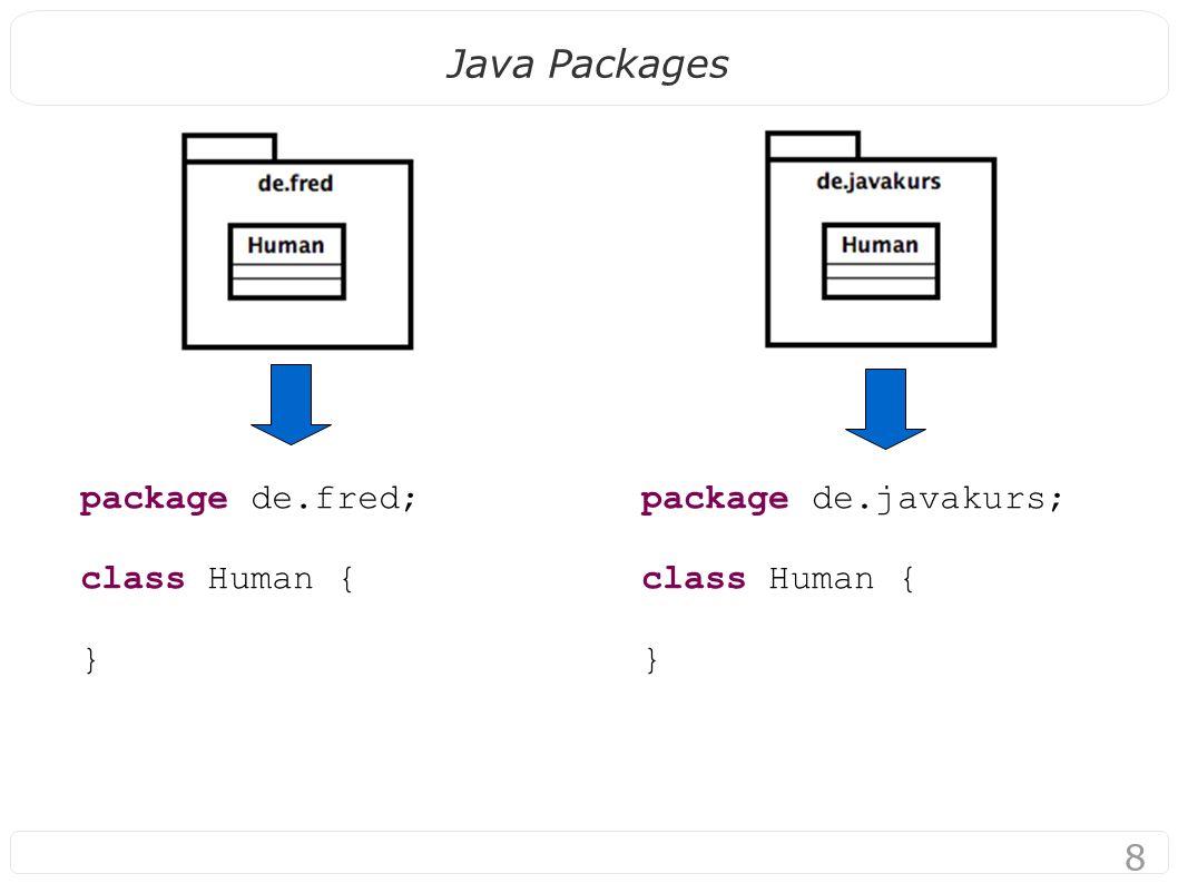 9 Java Packages Benutzung von Klassen aus anderen packages: import de.javakurs.Human; class MyMain { public static void main(String[] args) { Human h = new Human(); } Sagt Compiler: Human = de.javakurs.Human