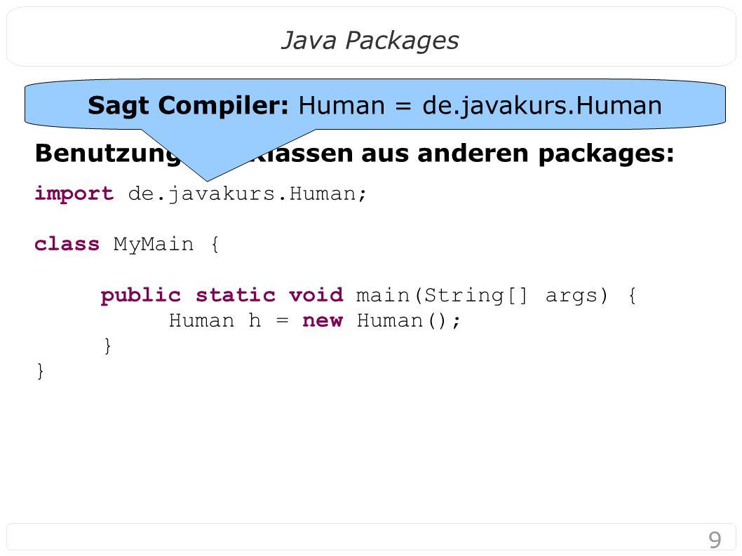 10 Java Packages Problem: In welchem package waren uns Beispiele bisher.