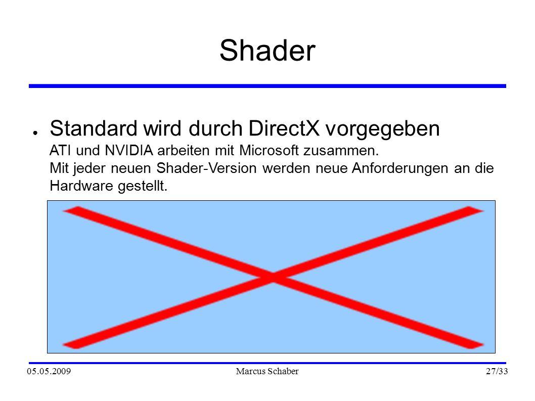 05.05.2009Marcus Schaber 27 /33 Shader ● Standard wird durch DirectX vorgegeben ATI und NVIDIA arbeiten mit Microsoft zusammen.