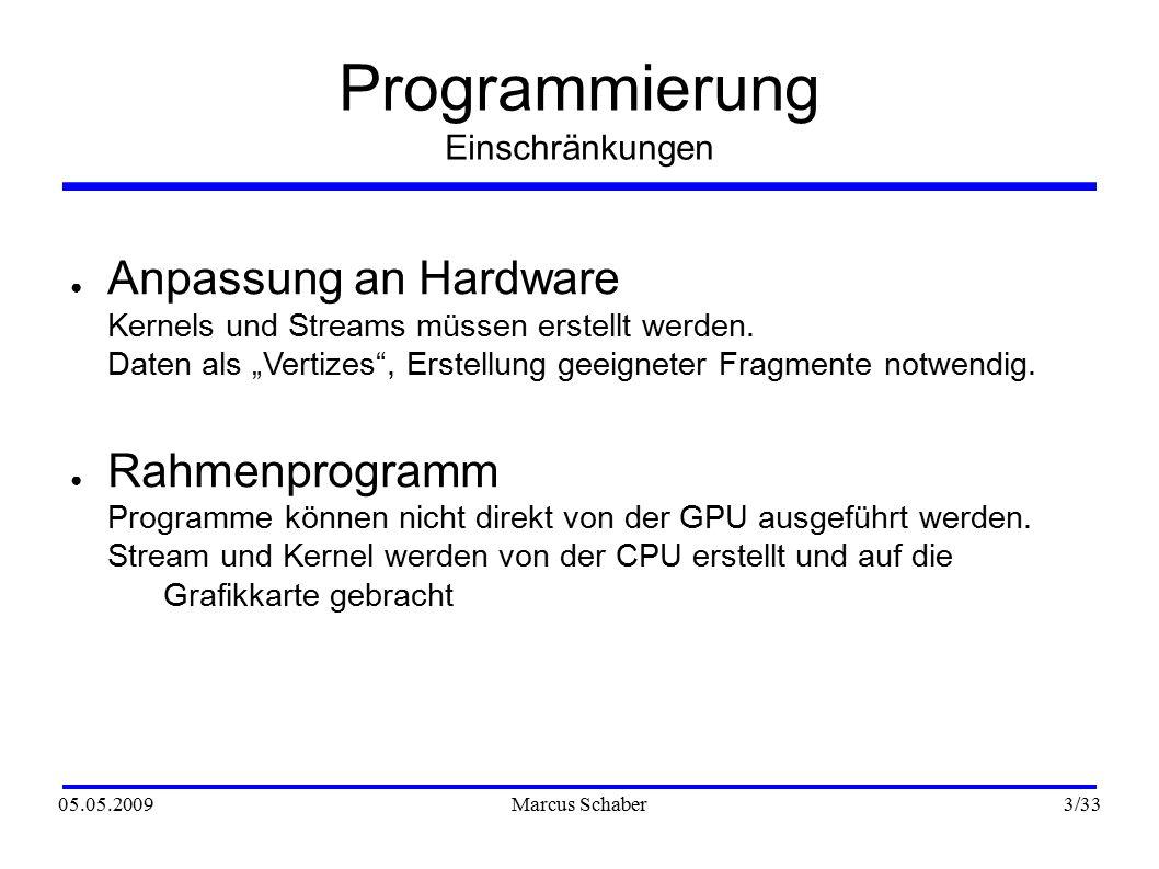 05.05.2009Marcus Schaber 3 /33 Programmierung Einschränkungen ● Anpassung an Hardware Kernels und Streams müssen erstellt werden.