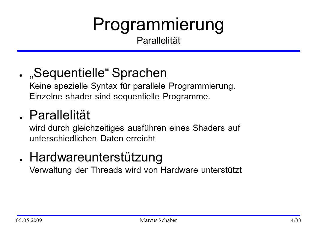 """05.05.2009Marcus Schaber 4 /33 Programmierung Parallelität ● """"Sequentielle Sprachen Keine spezielle Syntax für parallele Programmierung."""