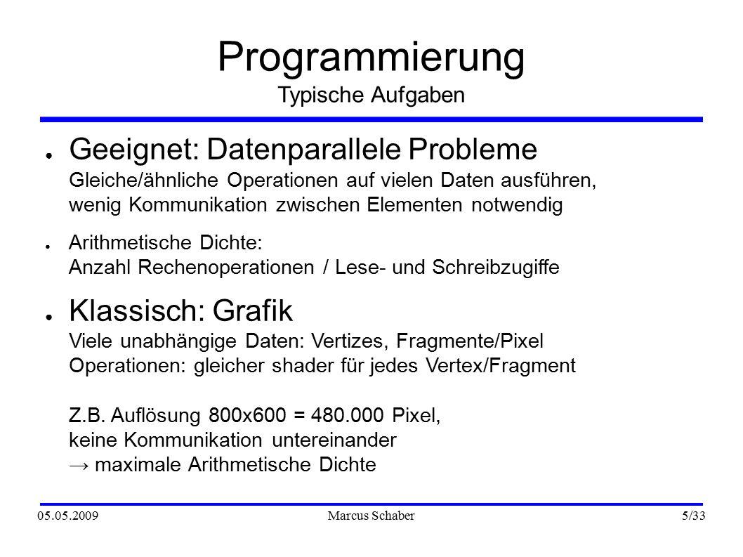 05.05.2009Marcus Schaber 6 /33 Programmierung Typische Aufgaben GPGPU ● GPGPU: Z.B.