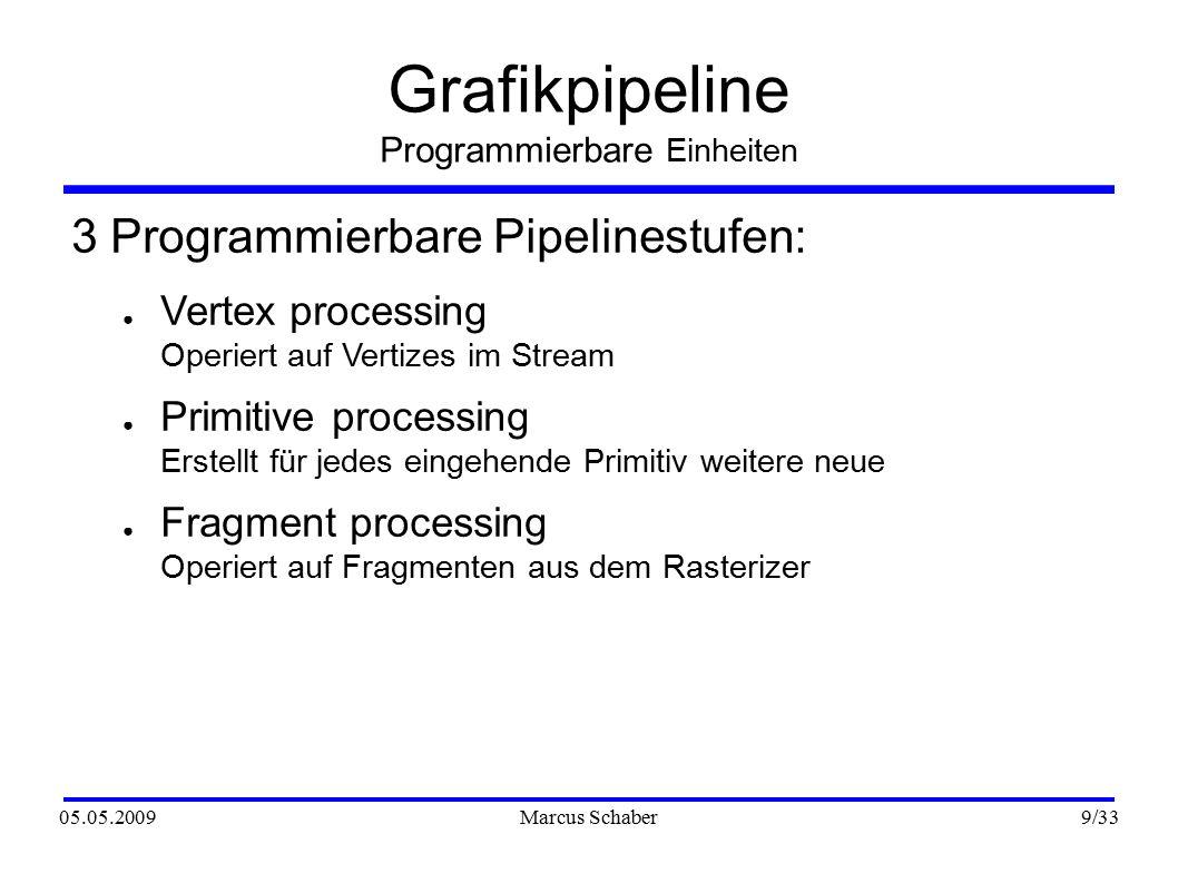 05.05.2009Marcus Schaber 20 /33 Programmiersprachen CG Beispiel ● Einbindung: CGprogram program = cgCreateProgramFromFile( context, CG_SOURCE, filename, profile, main , NULL); cgGLLoadProgram(program); cgGLBindProgram(myVertexProgram); cgGLEnableProfile(CGProfile profile); //Programm wird jetzt beim Rendern benutzt cgGLDisableProfile(CGProfile profile);