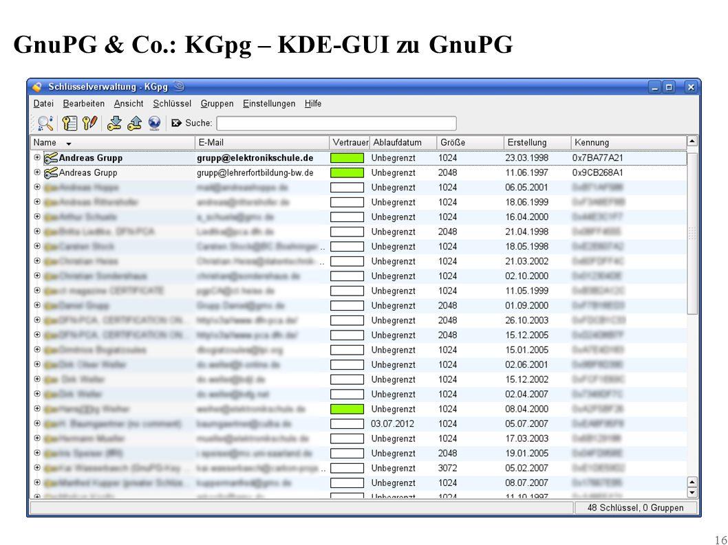 16 GnuPG & Co.: KGpg – KDE-GUI zu GnuPG