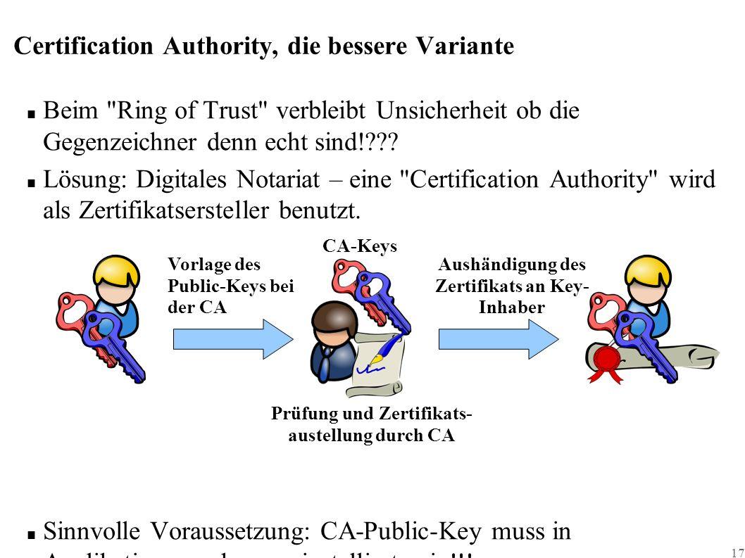 17 Certification Authority, die bessere Variante ■ Beim Ring of Trust verbleibt Unsicherheit ob die Gegenzeichner denn echt sind! .