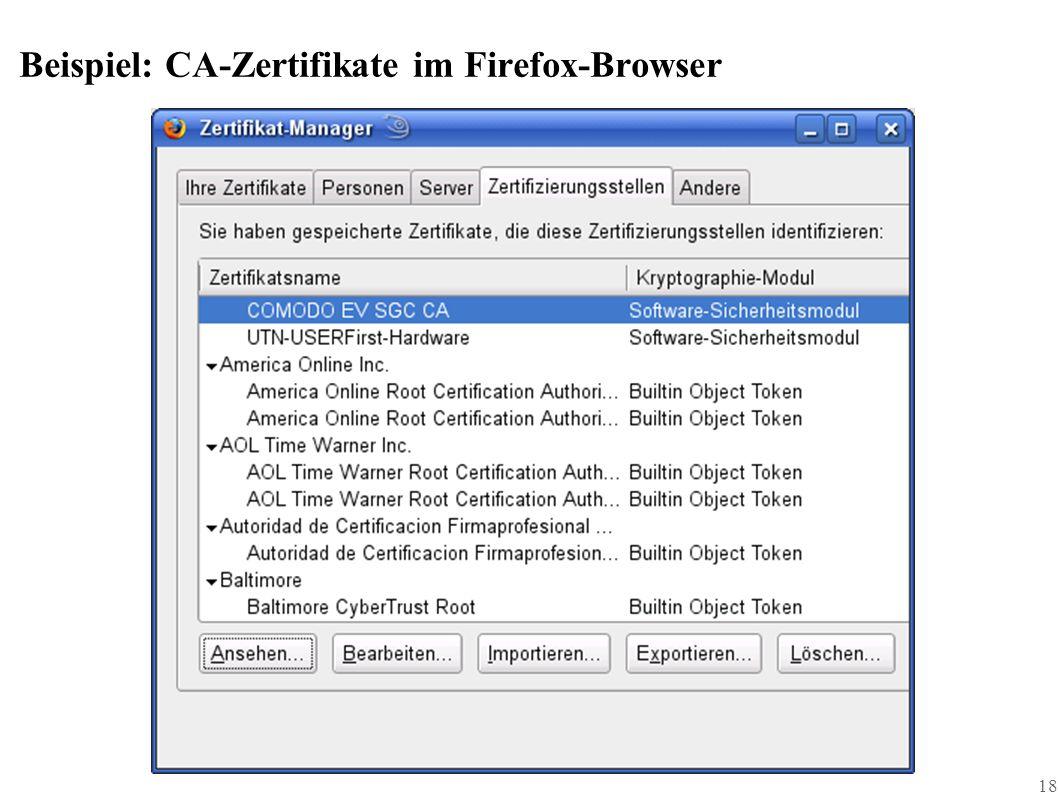 18 Beispiel: CA-Zertifikate im Firefox-Browser