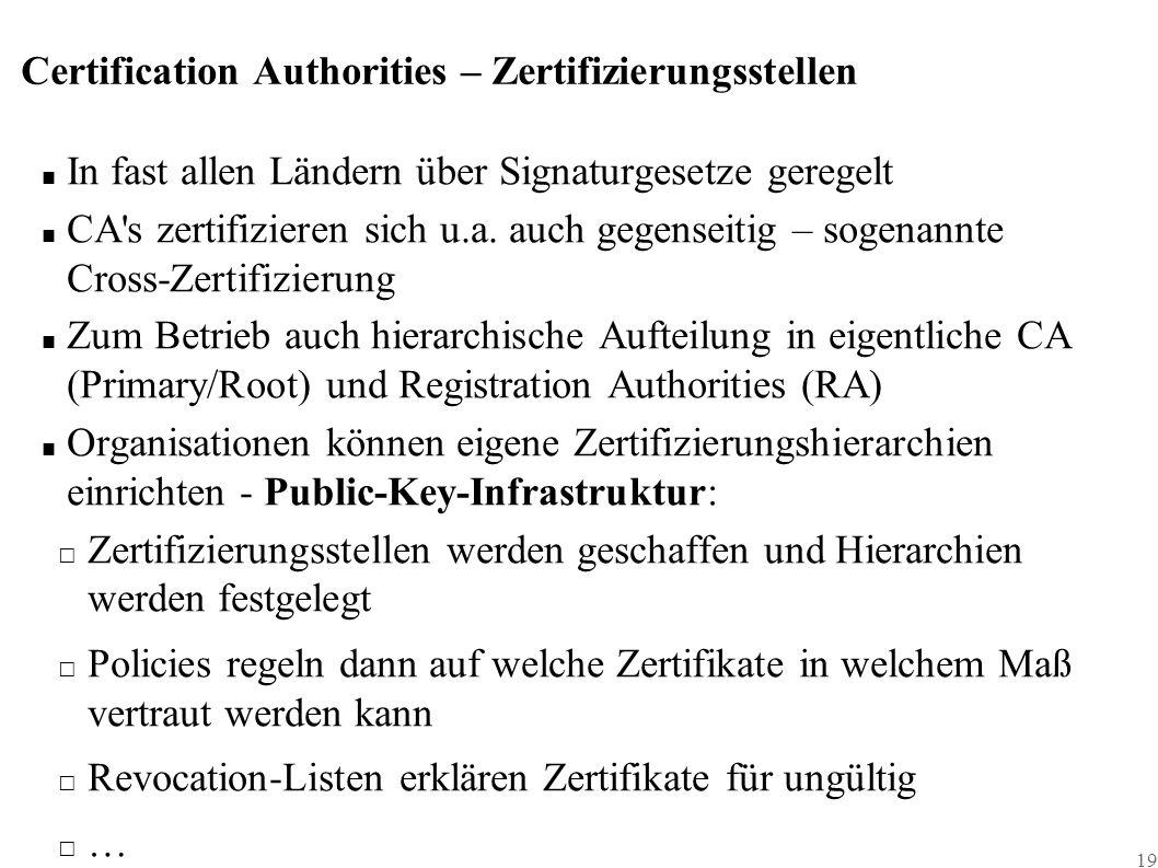 19 Certification Authorities – Zertifizierungsstellen ■ In fast allen Ländern über Signaturgesetze geregelt ■ CA s zertifizieren sich u.a.