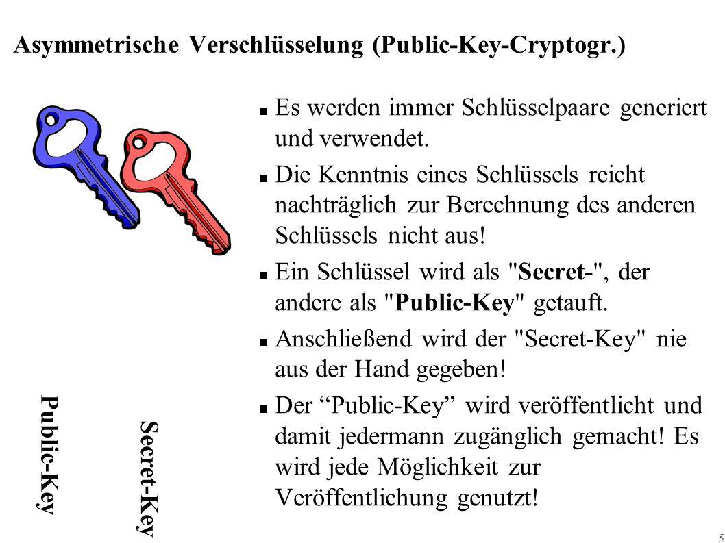 5 Asymmetrische Verschlüsselung (Public-Key-Cryptogr.) ■ Es werden immer Schlüsselpaare generiert und verwendet. ■ Die Kenntnis eines Schlüssels reich
