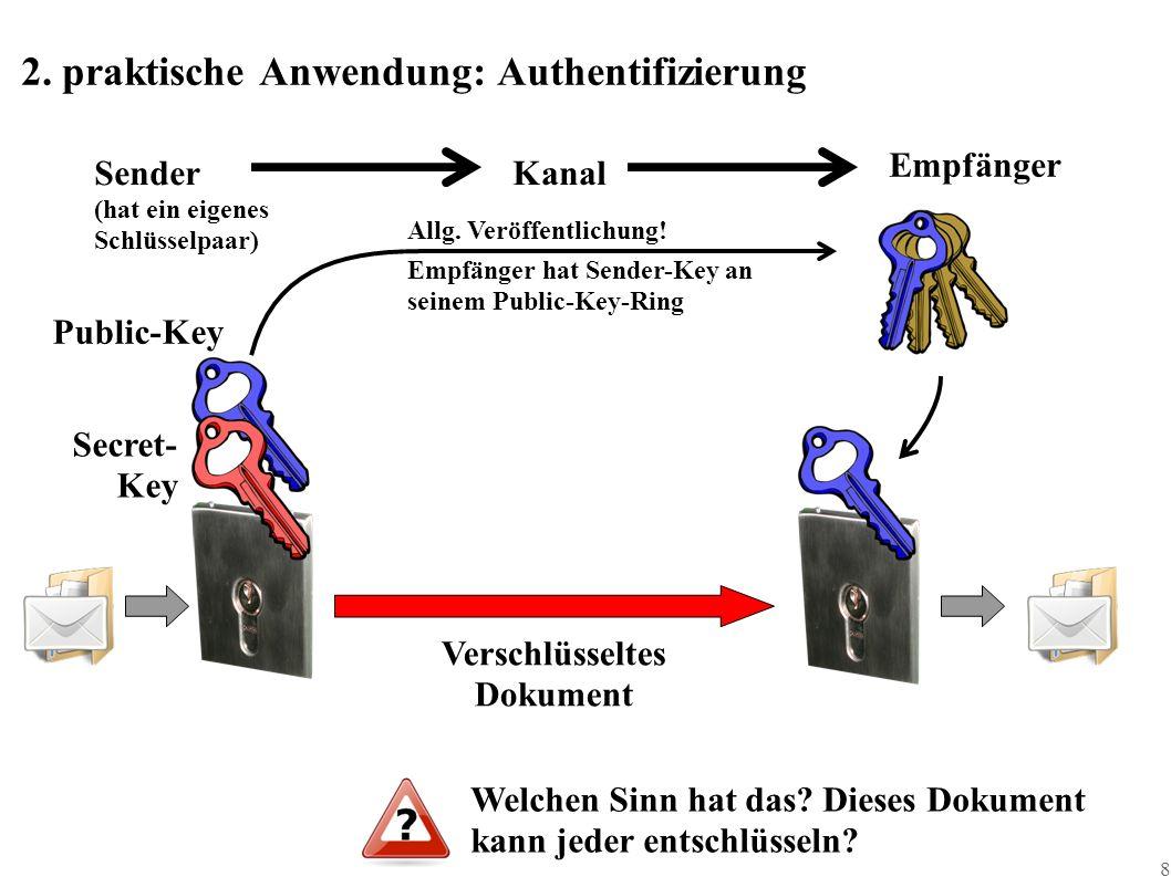8 2. praktische Anwendung: Authentifizierung Public-Key SenderKanal Empfänger Secret- Key (hat ein eigenes Schlüsselpaar) Allg. Veröffentlichung! Empf