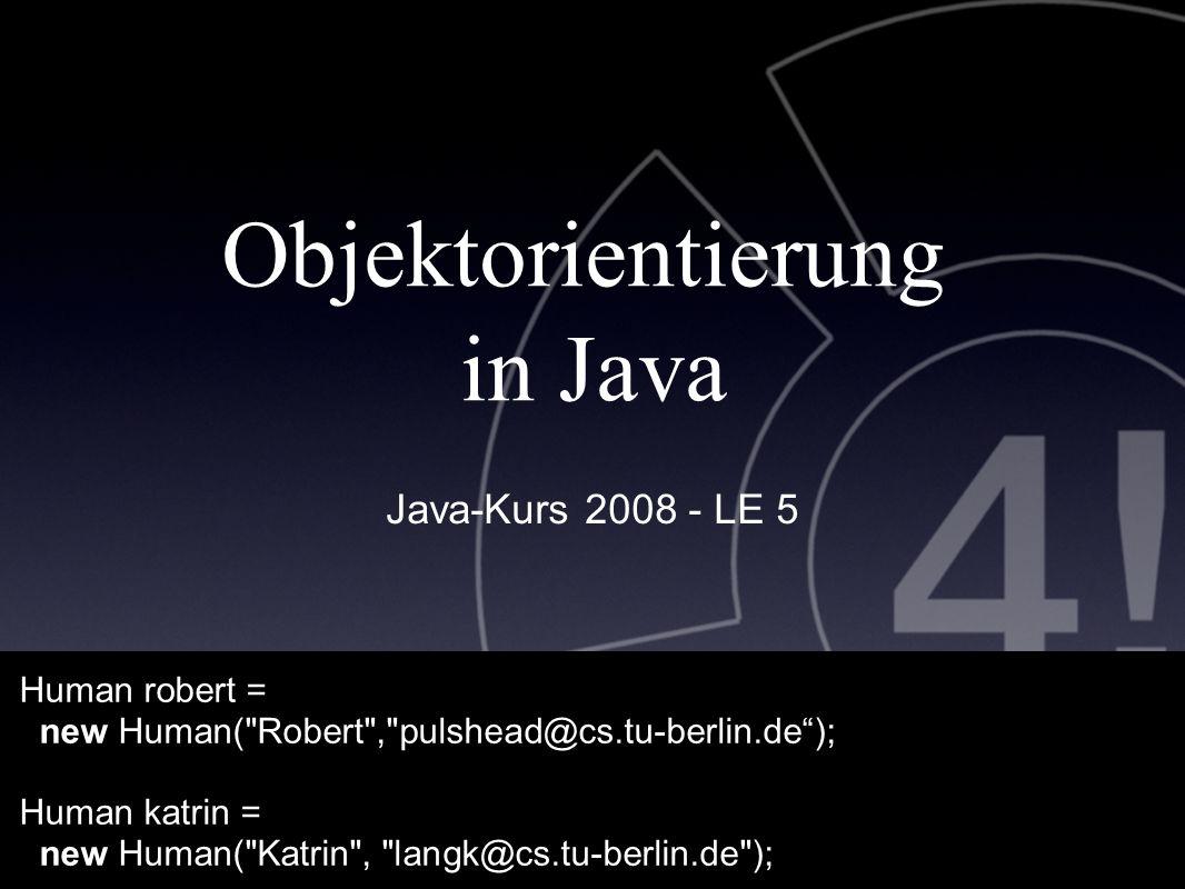 """/ 37 13 Human katrin= new Human(); katrin.age= 30; katrin.celebrateBirthday(); System.out.println(""""Age: + katrin.age); ___________________________________________ Ausgabe Age: 31 robert.talk( """"Methoden einer Instanz aufrufen );"""