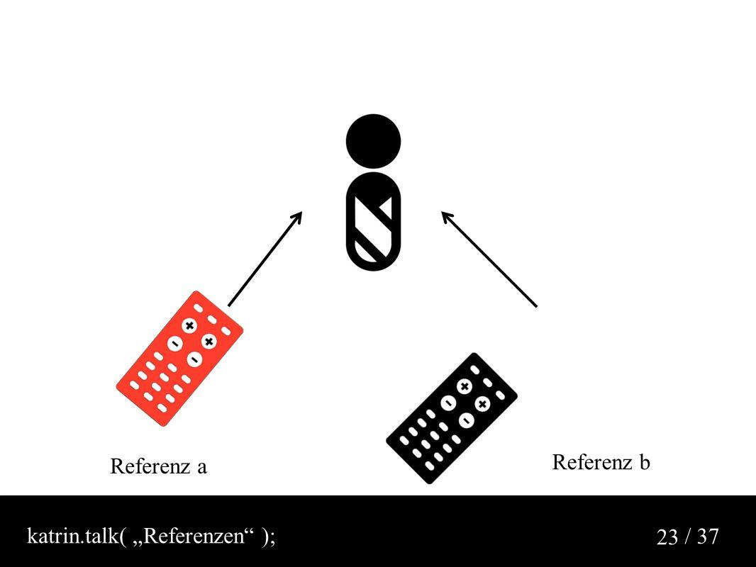 """/ 37 23 Referenz a Referenz b katrin.talk( """"Referenzen );"""
