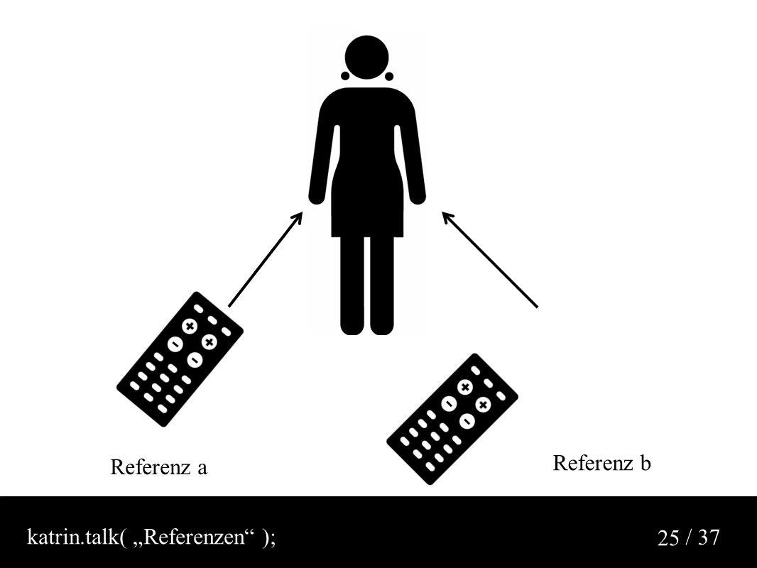 """/ 37 25 Referenz a Referenz b katrin.talk( """"Referenzen );"""