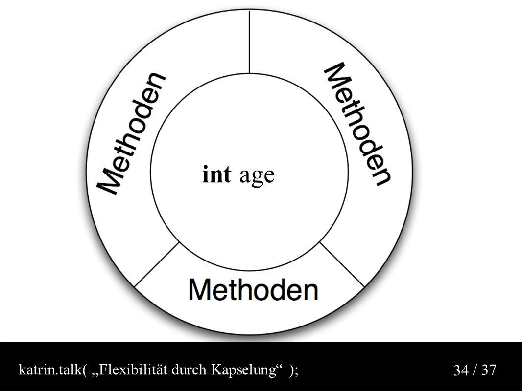 "/ 37 34 int age katrin.talk( ""Flexibilität durch Kapselung );"