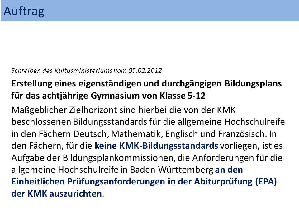 Auftrag Schreiben des Kultusministeriums vom 05.02.2012 Erstellung eines eigenständigen und durchgängigen Bildungsplans für das achtjährige Gymnasium