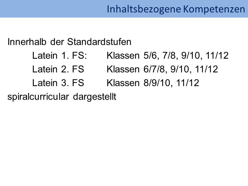 Inhaltsbezogene Kompetenzen Innerhalb der Standardstufen Latein 1. FS:Klassen 5/6, 7/8, 9/10, 11/12 Latein 2. FSKlassen 6/7/8, 9/10, 11/12 Latein 3. F