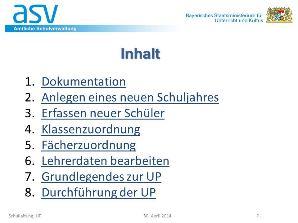 8.7 Anforderungen Schulleitung: UP 30.