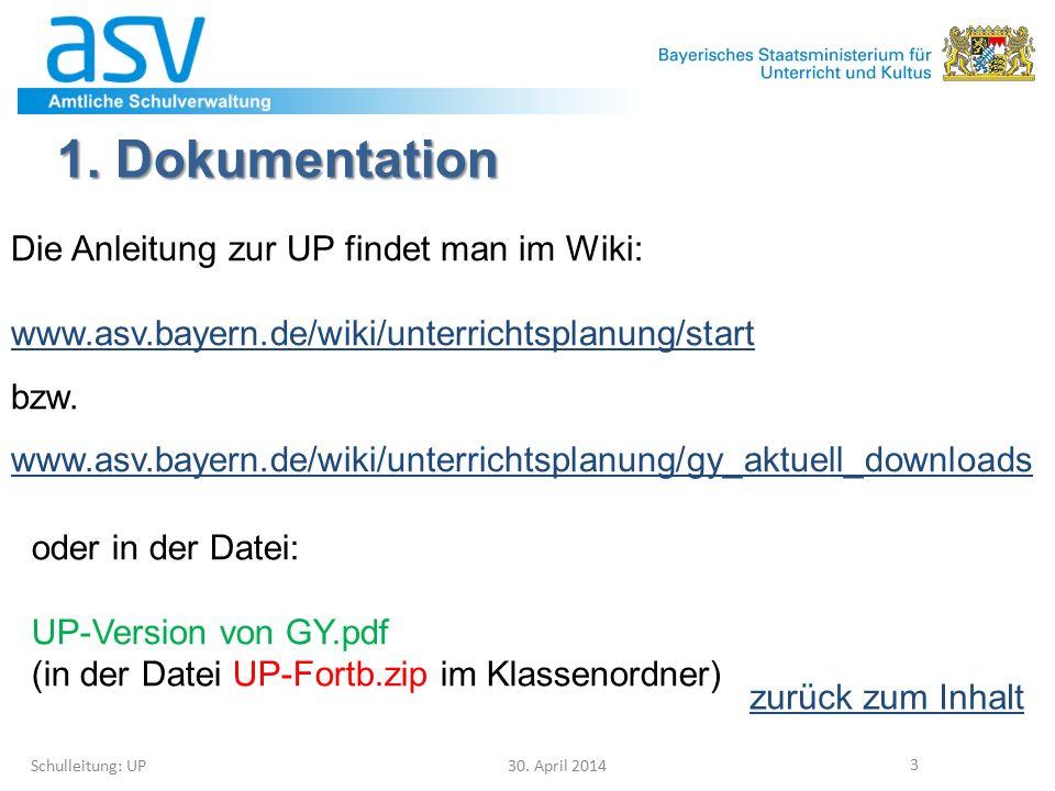 1. Dokumentation Die Anleitung zur UP findet man im Wiki: www.asv.bayern.de/wiki/unterrichtsplanung/start bzw. www.asv.bayern.de/wiki/unterrichtsplanu