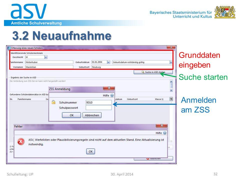 3.2 Neuaufnahme Schulleitung: UP 30. April 2014 32 Grunddaten eingeben Suche starten Anmelden am ZSS