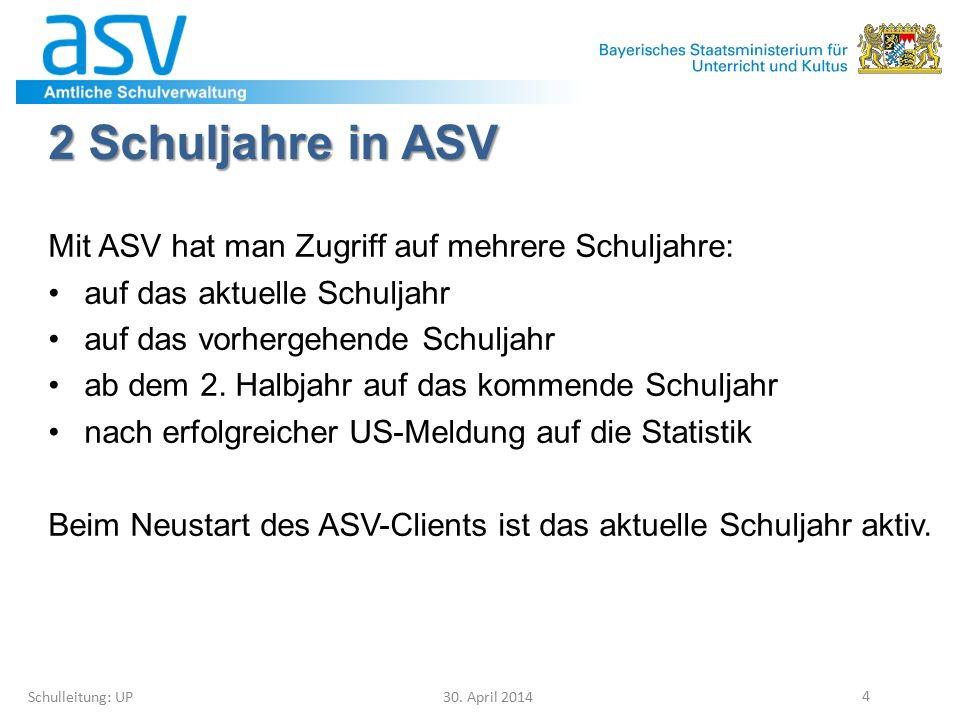 8.3 Vorläufiger Facheinsatz Schulleitung: UP 30.April 2014 75 Bisher in WinLD vorl.