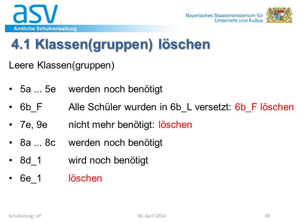 4.1 Klassen(gruppen) löschen Schulleitung: UP 30. April 2014 40 Leere Klassen(gruppen) 5a... 5ewerden noch benötigt 6b_FAlle Schüler wurden in 6b_L ve