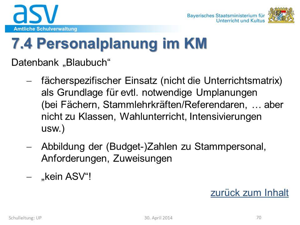 """7.4 Personalplanung im KM Datenbank """"Blaubuch""""  fächerspezifischer Einsatz (nicht die Unterrichtsmatrix) als Grundlage für evtl. notwendige Umplanung"""