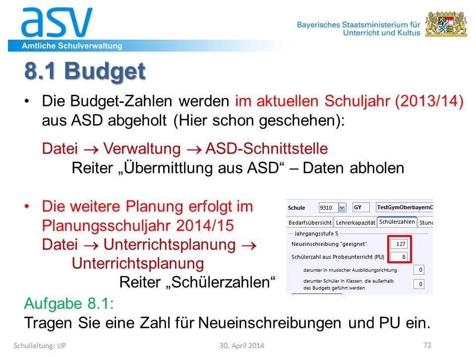 8.1 Budget Schulleitung: UP 30. April 2014 72 Die Budget-Zahlen werden im aktuellen Schuljahr (2013/14) aus ASD abgeholt (Hier schon geschehen): Datei