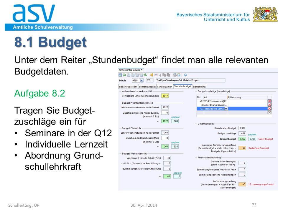 """8.1 Budget Schulleitung: UP 30. April 2014 73 Unter dem Reiter """"Stundenbudget"""" findet man alle relevanten Budgetdaten. Aufgabe 8.2 Tragen Sie Budget-"""