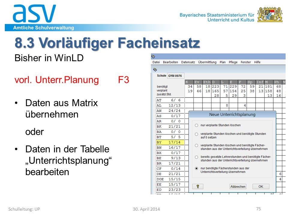 8.3 Vorläufiger Facheinsatz Schulleitung: UP 30. April 2014 75 Bisher in WinLD vorl. Unterr.Planung F3 Daten aus Matrix übernehmen oder Daten in der T