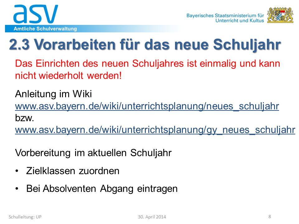 4.1 Klassen(gruppen) löschen Schulleitung: UP 30.April 2014 39 In der Matrix Modulbez.