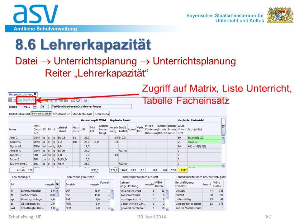 "8.6 Lehrerkapazität Schulleitung: UP 30. April 2014 82 Datei  Unterrichtsplanung  Unterrichtsplanung Reiter ""Lehrerkapazität"" Zugriff auf Matrix, Li"