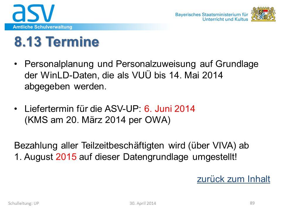 8.13 Termine Schulleitung: UP 30. April 2014 89 Personalplanung und Personalzuweisung auf Grundlage der WinLD-Daten, die als VUÜ bis 14. Mai 2014 abge