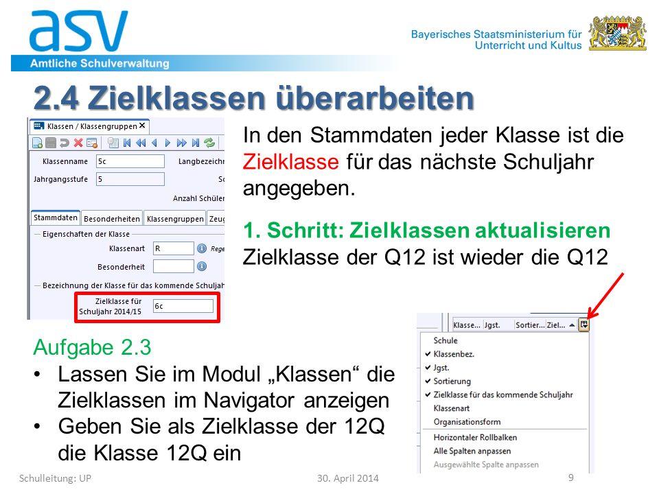 4.1 Klassen(gruppen) löschen Schulleitung: UP 30.April 2014 40 Leere Klassen(gruppen) 5a...