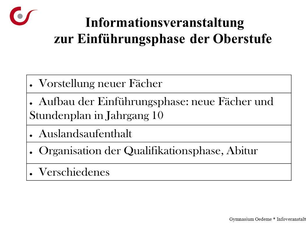 Gymnasium Oedeme * Infoveranstaltung * 2.12.13 Informationsveranstaltung zur Einführungsphase der Oberstufe