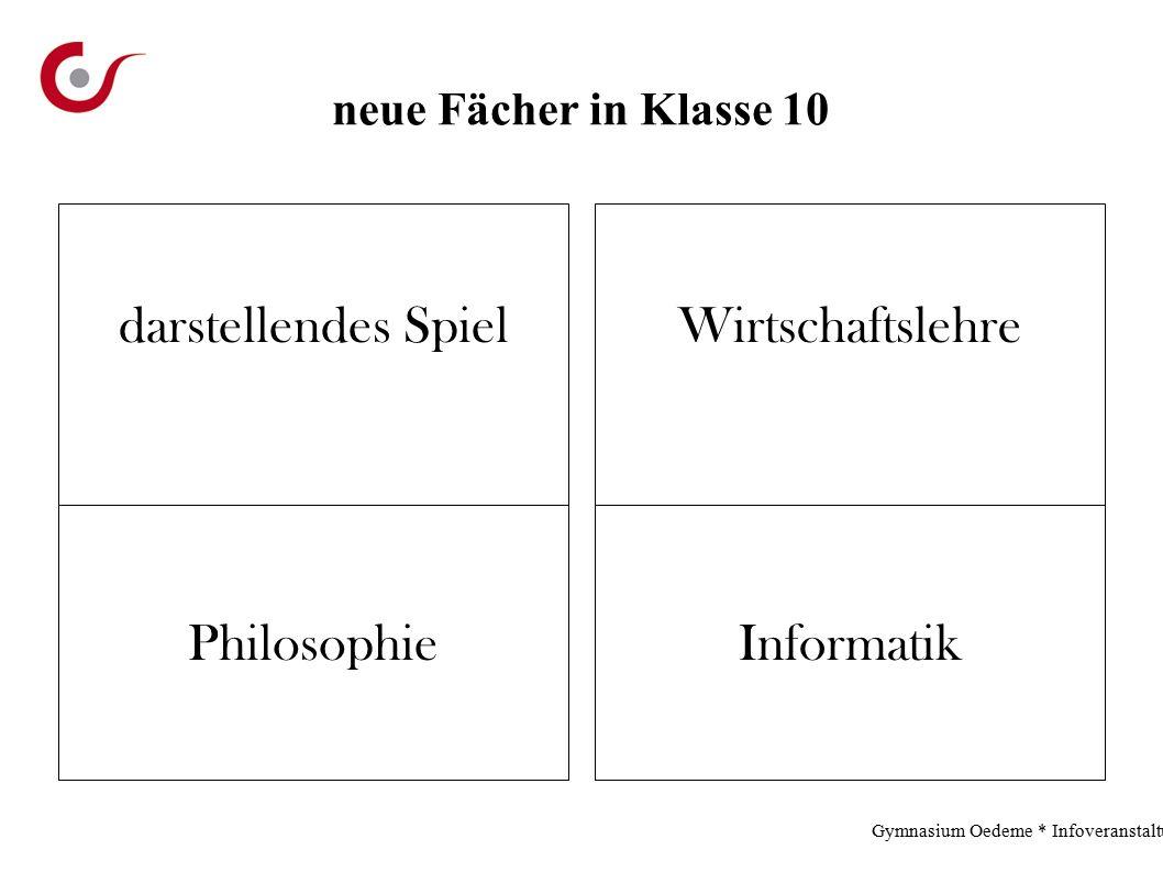 neue Fächer in Klasse 10 darstellendes SpielWirtschaftslehre InformatikPhilosophie Gymnasium Oedeme * Infoveranstaltung * 2.12.13