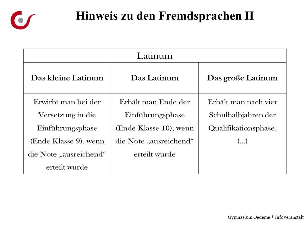 Hinweis zu den Fremdsprachen II Gymnasium Oedeme * Infoveranstaltung * 2.12.13