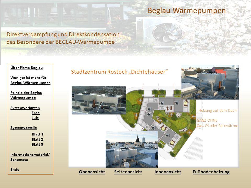 """Beglau Wärmepumpen Direktverdampfung und Direktkondensation das Besondere der BEGLAU-Wärmepumpe Stadtzentrum Rostock """"Dichtehäuser"""" ObenansichtObenans"""