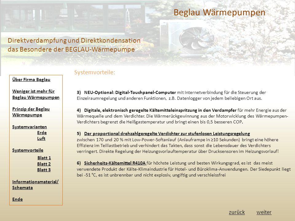 Beglau Wärmepumpen Direktverdampfung und Direktkondensation das Besondere der BEGLAU-Wärmepumpe Systemvorteile: 3) NEU-Optional: Digital-Touchpanel-Computer mit Internetverbindung für die Steuerung der Einzelraumregelung und anderen Funktionen, z.B.