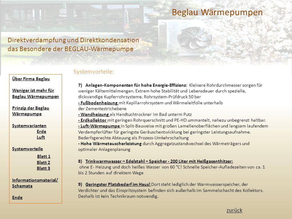 Beglau Wärmepumpen Direktverdampfung und Direktkondensation das Besondere der BEGLAU-Wärmepumpe Systemvorteile: 7) Anlagen-Komponenten für hohe Energie-Effizienz: Kleinere Rohrdurchmesser sorgen für weniger Kältemittelmengen.