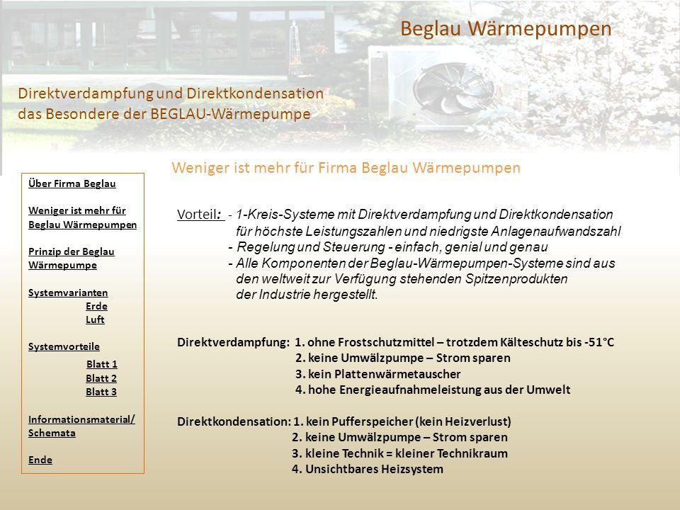 Beglau Wärmepumpen Direktverdampfung und Direktkondensation das Besondere der BEGLAU-Wärmepumpe Weniger ist mehr für Firma Beglau Wärmepumpen Vorteil:
