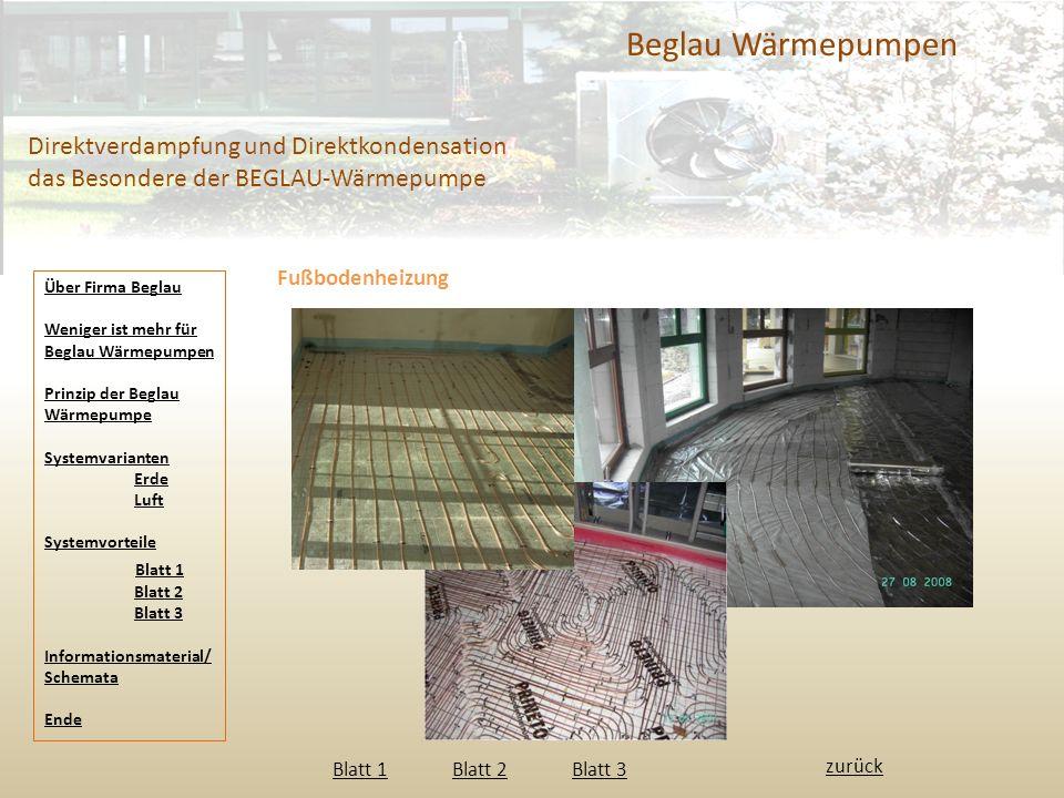 Beglau Wärmepumpen Direktverdampfung und Direktkondensation das Besondere der BEGLAU-Wärmepumpe Fußbodenheizung Blatt 1 Blatt 2 Blatt 3 Blatt 1Blatt 2